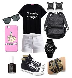 """""""School days #3"""" by gurveenpanesar ❤ liked on Polyvore featuring Pieces, Converse, Victoria's Secret, Ray-Ban, Eva Fehren, CO and Essie"""