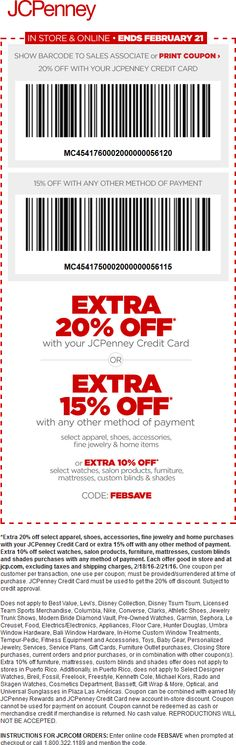 Pinned February 18th: 15% off at JCPenney or online via promo code #FEBSAVE #coupon via The #Coupons App