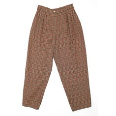 Vintage Women's Clothing Wool Checked Trousers High Waisted 1980's... ($33) ❤ liked on Polyvore featuring pants, high-waist trousers, pleated pants, brown pants, vintage pants and 80s pants