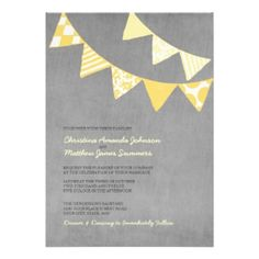 Yellow and Grey Wedding Invitations - with bunting!!