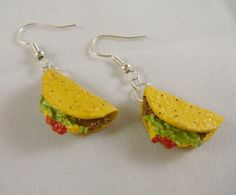 Miniature Food Jewelry - Taco Earrings by Claire's Polymer Clay Charms, Polymer Clay Earrings, Funky Earrings, Mini Things, Cute Jewelry, Jewlery, Funky Jewelry, Miniature Food, Creations