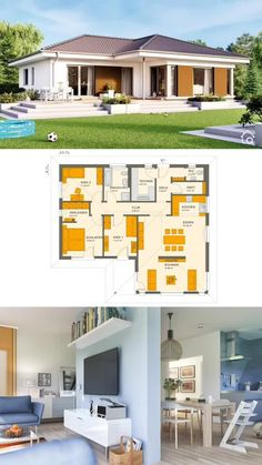 Build prefabricated bungalow classic with hipped roof or bay window, house design with corner bungalow floor plan House Layout Plans, My House Plans, House Layouts, House Floor Plans, House Design Plans, Small House Design, Modern House Design, Bungalow Haus Design, Simple Bungalow House Designs