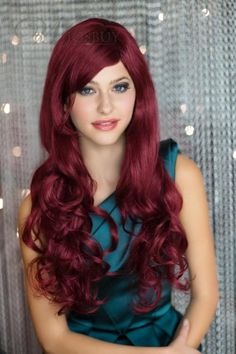 Hot Sale Top Quality Long Deep Wavy Dark Red Wig for Cosplay: wigsbuy.com