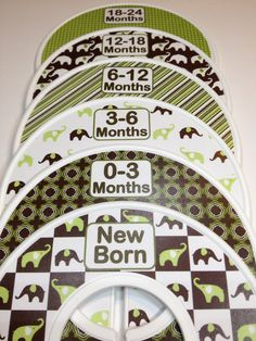 6 Custom Baby Closet Dividers Organizers Brown and Green Elephants Baby Boy Nursery Shower Gift - Clothes Dividers via Etsy