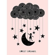 Oopsy Daisy Girl Sweet Dreams Cloud Stretched Canvas Wall Art