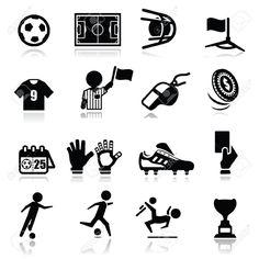 Conjunto de iconos en blanco y negro, de fútbol. Fondo blanco.