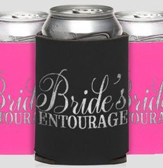 For a fun favor at your bachelorette party, our Bride's Entourage Flirty Koozie is a festive way to thank your guests for celebrating! Bachelorette Party Gifts, Wedding Koozies, Entourage, Party Guests, Party Supplies, Bridal Shower, Canning, Bride, Festive