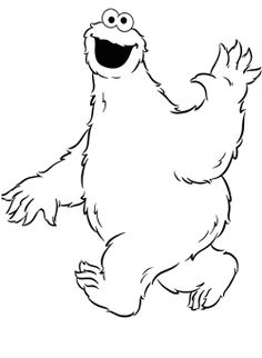 Cookie Monster Waving Coloring Pages | Outlines | Pinterest | Cookie ...