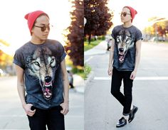 Thrifted Beanie, Lespecs Shades, The Mountain Wolf Shirt, Levi's Jeans, Unif Grim Creepers