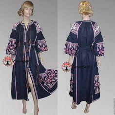Купить Вышитое бохо макси платье Украинское платье Этно Бохо Фольклорный Vita - разноцветный