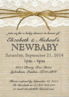 Vintage Burlap and Lace Baby Shower Invitations. Easy to customize! #baby_shower_invitations