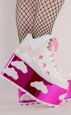 Platform Block Heels, Platform Boots, Platform Sneakers, Cute Shoes, Me Too Shoes, Pink Stars, Kawaii Clothes, Footwear, Aesthetic Shoes