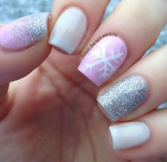 pink silver christmas nail art design