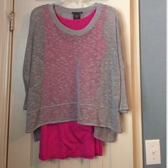 NWOT Chelsea & Theodore Top Bright pink tank is attached to grey shell at the top of the shoulder. Looks really cute on (I have other colors that I've worn but never got around to wearing this grey one). I have never worn this shirt. Tops Blouses