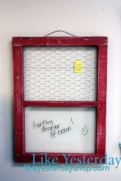 Don't ever throw an old wooden window away....even if glass is broken.  Decor & More - Like Yesterday Shop