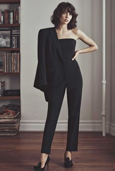 Steffy Argelich for Fall 2015 Campaign, wearing a Club Monaco Jumpsuit now available in our holiday Party Shop.