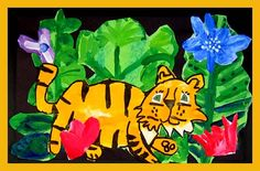 create Tigers cut out cover with tissue paper jungle Fall Art Projects, Classroom Art Projects, School Art Projects, Art Classroom, Henri Rousseau, Kindergarten Art Lessons, Art Lessons Elementary, Jungle Art, Jungle Theme