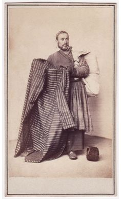 """I love the very large bag/sack being carried by this Russian vendor from the late 1800s (he is described as """"Gown Seller"""" in a series of portraits of Russian Types). It's like a Japanese furoshiki."""