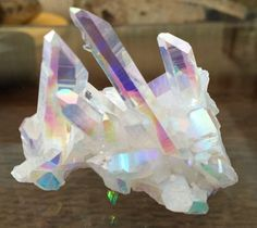 Rainbow Aura Crystal Cluster Delicate Long Points Platinum and Silver treated Arkansas Quartz Specimen by MudStonesandMustangs on Etsy