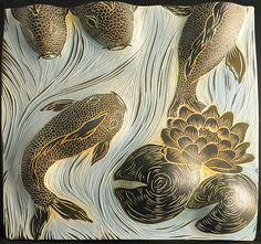 Koi and Lily Pads by Natalie Blake (Ceramic Wall Sculpture) Sgraffito, Koi, Ceramic Wall Art, Tile Art, Fish Sculpture, Wall Sculptures, Linocut Prints, Ceramic Artists, Clay Art