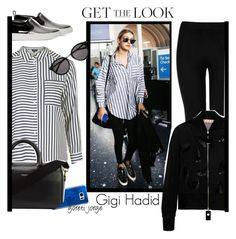 """""""Gigi Hadid - Get The look"""" by goreti ❤ liked on Polyvore featuring Topshop, Wolford, Marc by Marc Jacobs, Casetify, Yves Saint Laurent, Marni, GetTheLook and airportstyle"""