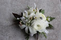 winter white and gray wrist corsage
