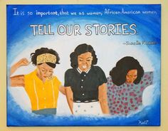 "fyblackwomenart: "" Tell Our Stories by Kali Thomas Acrylic on canvas. Scene from Hidden Figures. Quote from and interview with Janelle Monae. tumblr: Kali Likes Art Shop: Art By Kali """
