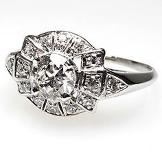 ANTIQUE ART DECO OLD EUROPEAN CUT DIAMOND ENGAGEMENT RING SOLID PLATINUM