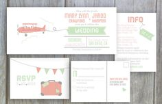 Vintage Airplane Destination Printable Wedding Invitation, RSVP Postcard, and Info Card