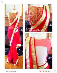 Printef blouse with plan saree