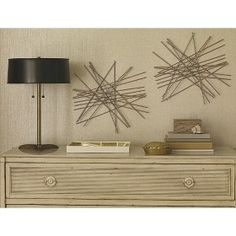 DIY this wall decor. Kabob sticks, glue an gold spray paint