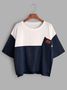Color Block Dip Hem T-shirt With Chest Pocket