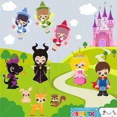Cute Sleeping Beauty - Maleficent, Clipart Fairy Tale / by DimiPix, $3.50