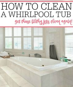 Does your bathtub jets need cleaning? Check out how to clean a whirlpool tub. Skip the expensive store-bought cleaners and make your own jetted tub cleaner. Deep Cleaning Tips, House Cleaning Tips, Diy Cleaning Products, Spring Cleaning, Cleaning Checklist, Cleaning Supplies, Clean Jetted Tub, Clean Bathtub, Bathtub Cleaner