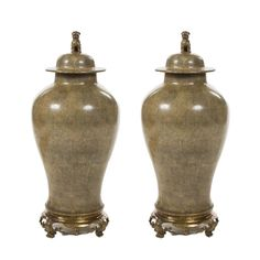 Pair of Large Chinese Porcelain Temple Jars Decor NYC Store