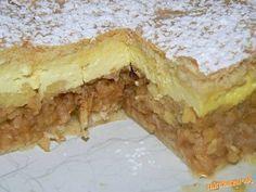 Štedrý jablkovo-tvarohový koláč Cesto: 350g polohr múky, 80g tuku, 1/2 pr do peč, 40g cukru prášk, 2 vanilky, 1 vajíčko, 1dcl. mlieka * PLNKA JABLKOVÁ: 5-6 jabĺk nastrúhaných na veľké slížiky, 3 lyžice cukru, 1škoricový cukor, 2hrste popučených piškót. * PLNKA TVAROHOVÁ: 250g krémového tvarohu, 2,5 dcl mlieka, 1 krémový prášok - maizena, 1 vajíčko, 2PL cukru , 1cl. rumu. Vypracujeme cesto, do chladu. Na polku cesta jablká, cukr škorica, piškóty, tvarohovú plnku, druhý plát, popicháme, pečieme Czech Recipes, Russian Recipes, Cookie Desserts, Cookie Recipes, Healthy Diet Recipes, Polish Recipes, Desert Recipes, I Love Food, Food Dishes