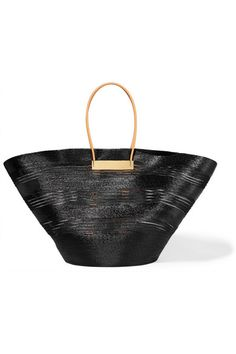 Balenciaga | Cable leather-trimmed glossed raffia-effect tote | NET-A-PORTER.COM