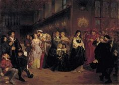"""The Great Matter"" ~ This painting depicts the Court of King Henry VIII sometime during 1525-1530. In this large portrait, Henry VIII is seen intimately wooing Anne Boleyn in court behind his wife, Catherine of Aragon. To Henry and Anne's left is the Spanish ambassador showing disgust at the scene in front of him; to the right of Catherine, Cardinal Wolsey."