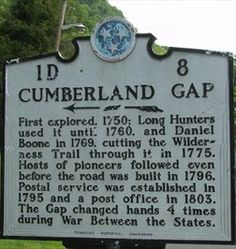 Historical Marker - Cumberland Gap, TN - Tennessee Historical Markers