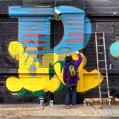 "photo: ""Ben Eine at work in Shoreditch. Street Mural, Street Art Graffiti, Mural Art, Murals, Graffiti Lettering, Typography, Installation Street Art, Sugru, Urban Graffiti"