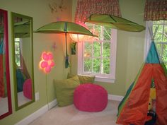 Playroom with ikea leaf canopy