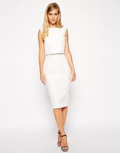 Enlarge ASOS Pencil Dress with Shell Top in Texture