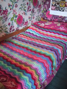 Attic 24 ripple blanket using Stylecraft colour pack - love it!!