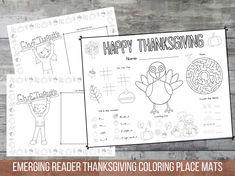 Thanksgiving Kids Place Mat Printable, Easy Reader for Preschool to 1st grade