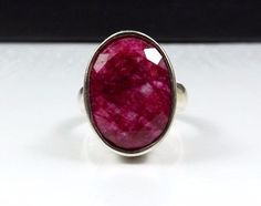 Designer Sterling Silver 925 Natural Red Ruby Gemstone Birthstone Size 7 Ring #NF