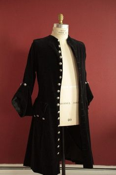 Black velveteen frock coat pirate mens womens buccaneer swashbuckler renaissance costume on Etsy, $225.00