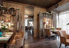 интерьер ресторана в стиле кантри, прованс