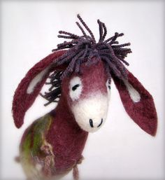 Eliora  Felt Donkey with long floppy ears Art by TwoSadDonkeys, $52.00