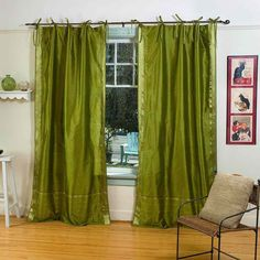 Indian Selections Olive Green Tie Top Sheer Sari Curtain / Drape / Panel - Pair Inches - matching lining 43 x 120 inches x 304 cms)), Size matching lining 43 x 120 inches 109 x 304 cms (Polyester, Solid) Cafe Curtains, Sheer Curtains, Olive Green Curtains, Home Decor Items, Diy Home Decor, Home Based Work, Curtain Styles, Green Tie, Custom Drapes