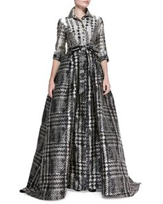 3/4-Sleeve Houndstooth Shirtwaist Ball Gown, Gray/Beige by Carolina Herrera at Neiman Marcus.
